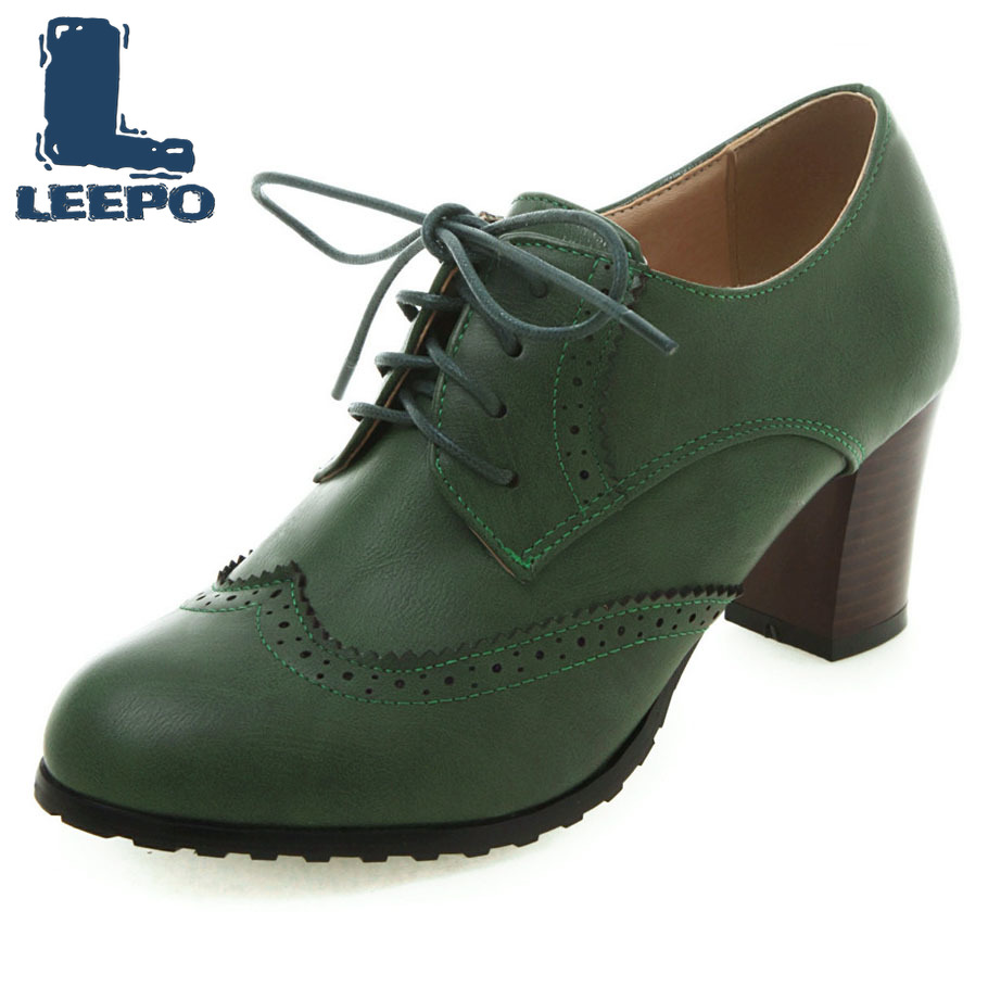 LEEPO Dress Pumps Shoes Female Brown High-Heels Lace-Up Retro Woman Large-Size Daily