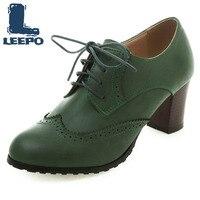 Oxford escarpins chaussures femmes rétro à lacets talons hauts femme bout rond grande taille chaussures richelieu femme marron robe quotidienne pompes