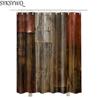 Vintage Wood Farmhouse Shower Curtain Fabric 3D Waterproof Bathroom Curtain Drop Shipping Brown Wood Curtain For The Bathroom