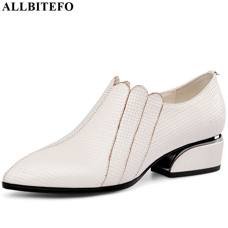 ALLBITEFO Real Genuine Leather Women Heels Pure Color High Heel Shoes Spring Autumn Sexy Ladies Fashion High Heels Comfortable