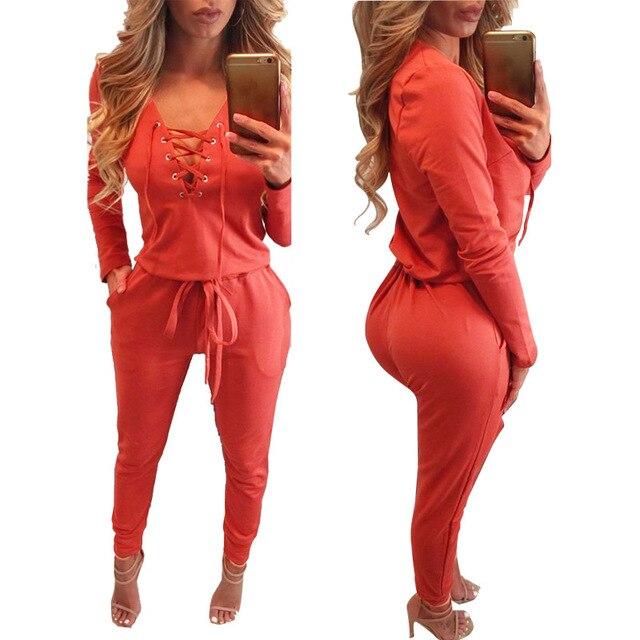 Women Rompers Jumpsuits lace up Long Sleeve bobycon Jumpsuit Deep V-neck Jumpsuits Bodysuit Overalls Women Clothing LJ5801M