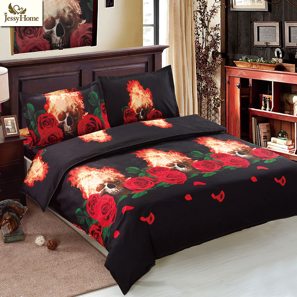 Dead Head Halloween Bedding Set Skulls Leopard Bedding Set