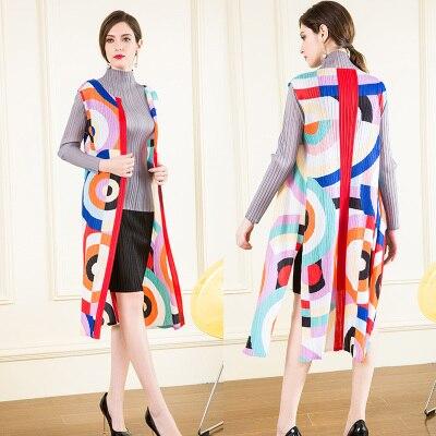 Sans Stock Manches Géométrique Plier Miyake Vente Point Chaude Multi Manteau Tranchée cou Ouvrir Impression O En q046wt