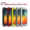 Примечание 5 Оригинал Любовь Мэй Мощный Case Для Samsung Galaxy Note 3/4/5 Shockproof Aluminum Case Cover + Закаленное Стекло
