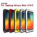 Nota 5 original amor mei potente case para samsung galaxy note 3/4/5 case cubierta de aluminio + vidrio templado a prueba de golpes