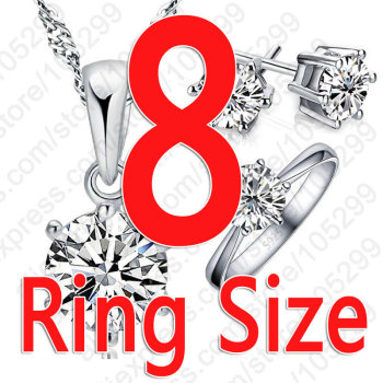 925 Sterling Silver Bridal Jewelry Sets For Women Accessory Cubic Zircon Crystal Necklace Rings Stud Earrings Set Gift 3