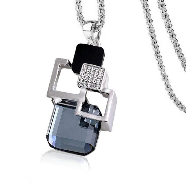 2016 personalità della moda Argento colore Hollow Geometrica Grande Cristallo Collana lunga Del Pendente Fine Jewelry per le donne Maglione catena