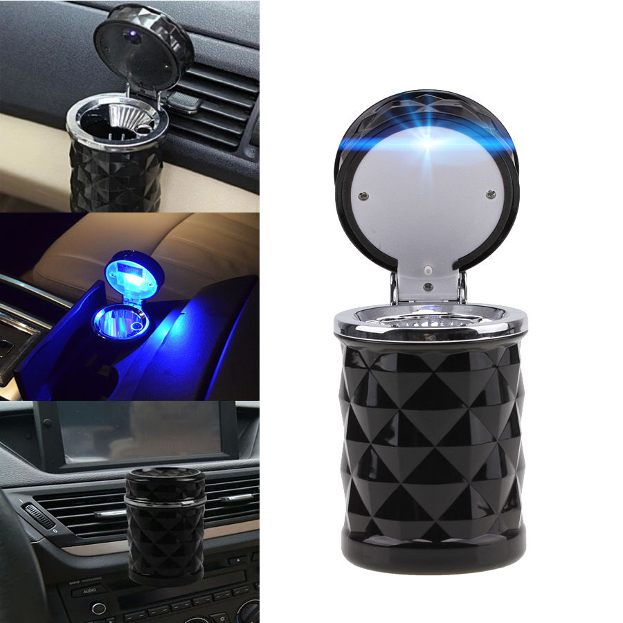 LED Portable Auto Car Cigarette Ash Ashtray Smokeless Stand Cylinder Cup Holder Easy Clean Black D025 auto ashtray cup shaped shiny finish with hook