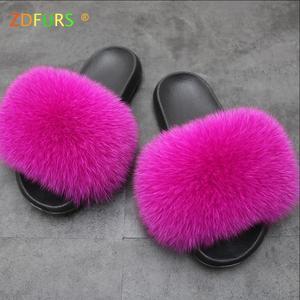 Image 4 - ZDFURS * zapatillas de piel de zorro para mujer, Sliders suaves, cómodos zapatos planos de verano con piel de mapache, zapatos de suela EVA a la moda