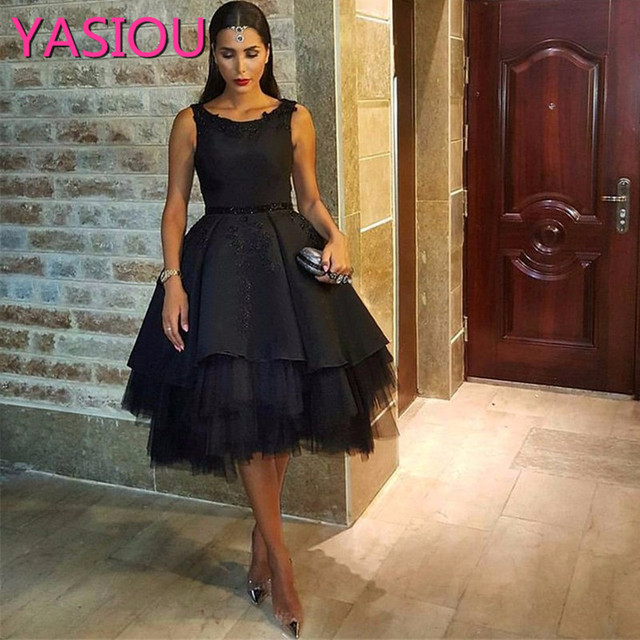 e44fadba586 NEW 2019 Haute Couture Fashion Formal Black Ball Gowns Sequin Appliques  Tulle Celebrity To Prom Dresses Short Cocktail Dresses