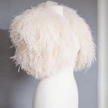 Elegant Ivory Ostrich Feather Capes Wedding Fur Jackets 2017 Bridal Boleros Women for evening dresses Wedding Accessories B266