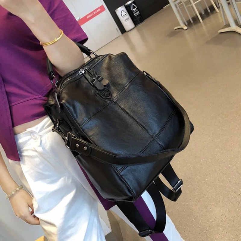 2019 retro backpack female brand leather women's backpack large capacity student bag girls casual shoulder bag female
