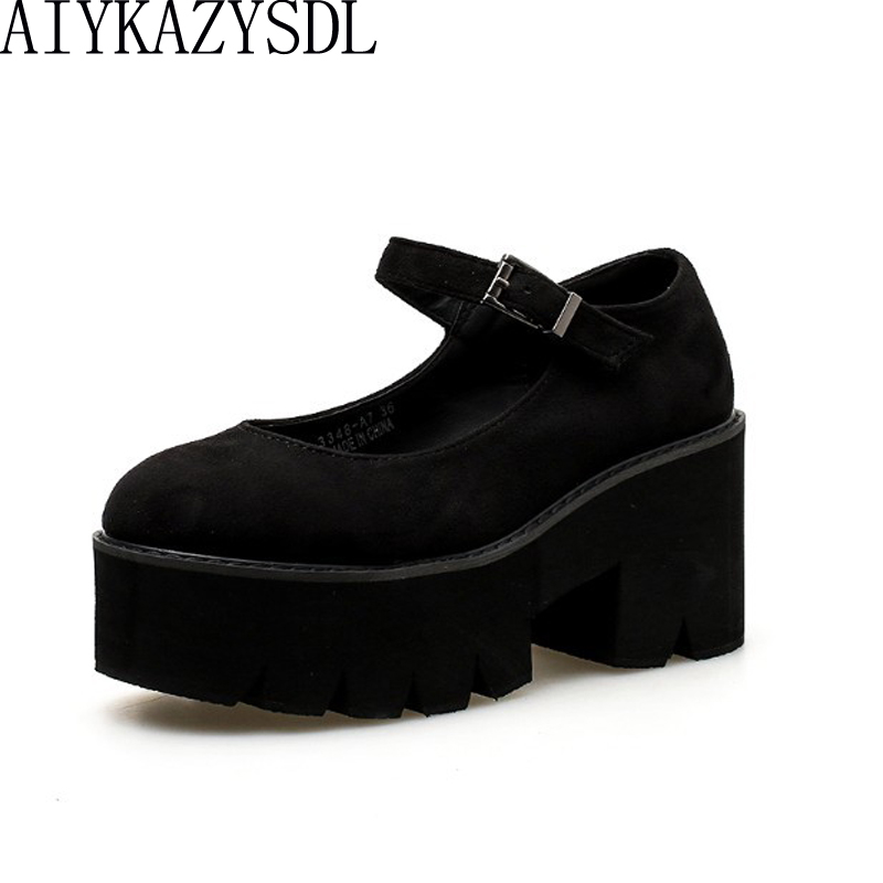 AIYKAZYSDL Women Pumps Platform Wedge Shoes Block Chunky Thick High Heels Preppy Style Cosplay Shoes Mary Jane Faux Suede Shoes