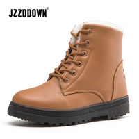 Jzzddown Ankle boots for women with fur plush warm snow boots female luxury ladies Martin winter boots women plus size 43