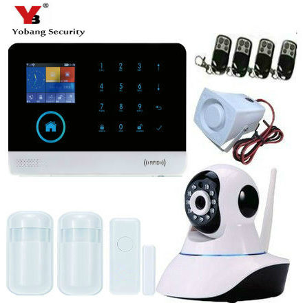 YobangSecurity Home Security Android IOS APP WIFI GSM GPRS Alarm System with PIR Motion Detector Wireless IP Camera Smoke Sensor wireless gsm pstn home alarm system android ios app control glass vibration sensor co detector 8218g