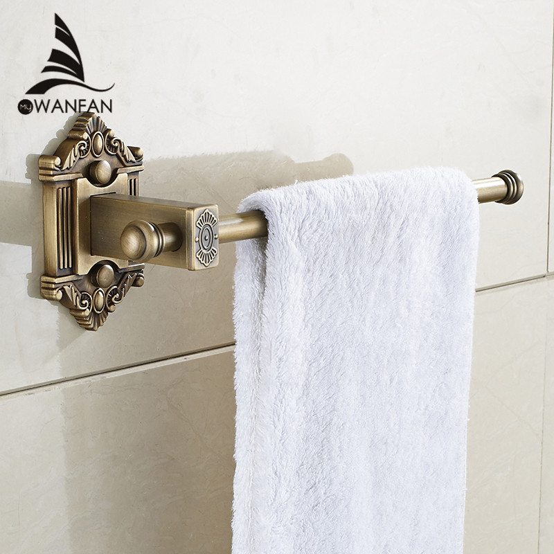 Towel Rings Single Rail Antique Brass Wall Shelf Towel Bar Towel ...