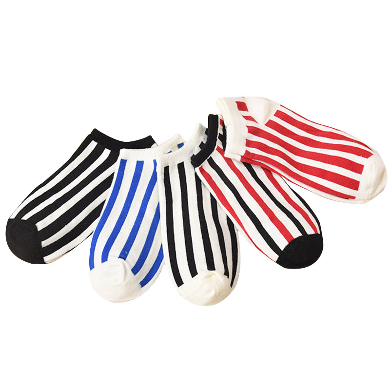 5pairs Mens Striped Deodorant Anti-friction Socks Man Funny Fashion Shallow Mouth Invisible Spring Autumn Cotton Socks Meias Sox