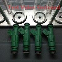 4 pcs vídeo de teste fechado universal alimentação superior desempenho injector de combustível 440cc gigante verde 0280155968 para vw para audi a4 tt
