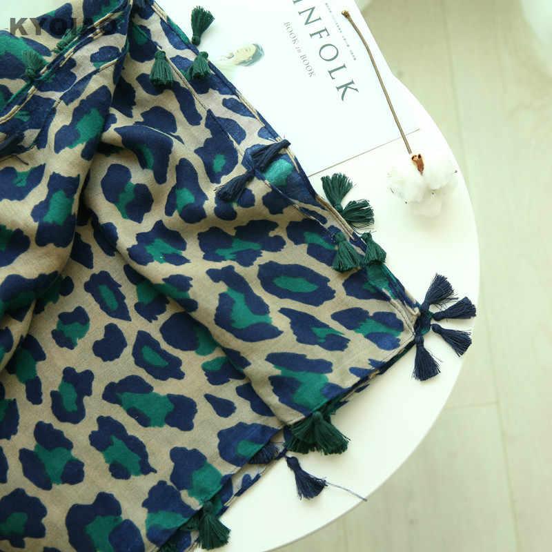 KYQIAO women green leopard neck scarf 2019 women winter scarfs for ladies  autumn fashion sexy long leopard scarves muffler