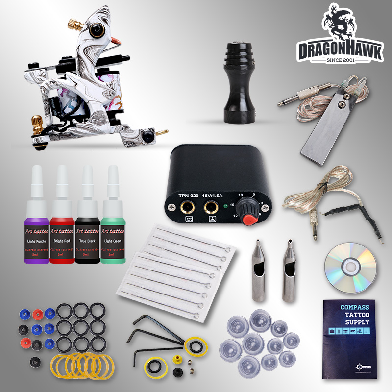 Starter Tattoo kit 1 Tattoo Machine Power Supply Needles 4 Inks  D1025GD-3 beginner tattoo kit 1 machine gun 4 inks needles tattoo power supply d1025gd 2