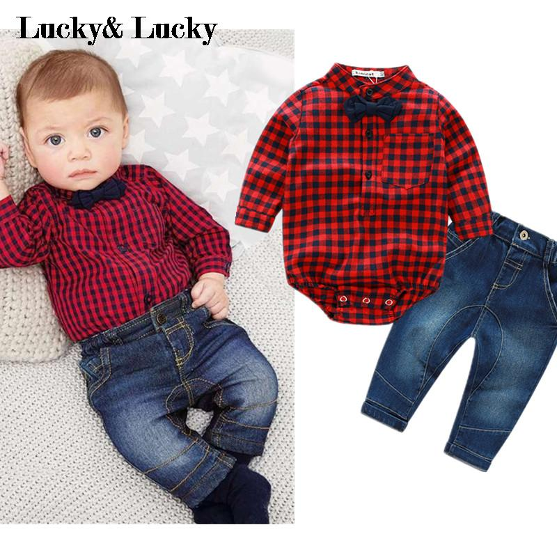 2016 new red plaid rompers shirts+jeans baby boys clothes bebe clothing set