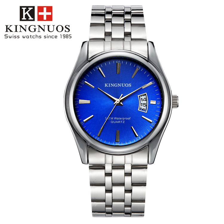 Kingnuos Tops Luxury Brand Men Full Stainless Steel Business Watches Men's Quartz Date Clock Men Wrist Watch relogio masculino longbo men and women stainless steel watches luxury brand quartz wrist watches date business lover couple 30m waterproof watches
