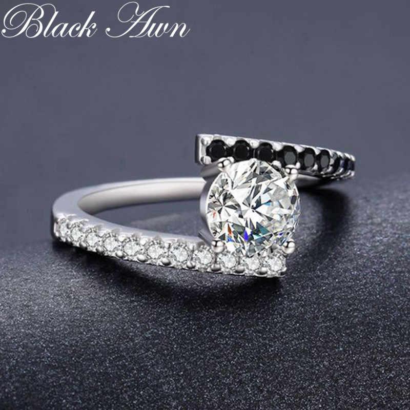 Anillos Mujer קלאסי 925 סטרלינג תכשיטי כסף טרנדי חתונה לנשים אירוסין טבעת Femme Bijoux Bague C011
