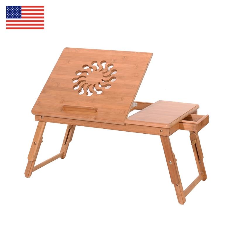 купить Student dormitory Bed desk Folding table Fashion Sunflower Engraving Pattern Sandal Wood Bamboo Computer Desk bedroom furniture по цене 1973.97 рублей