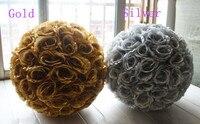 Fabryka Hurtownie!! złoty Sztuczny Kwiat Piłka Ślubne Centerpieces Srebrny Silk Rose Kissing Ball Wiszące Dekoracji Piłkę