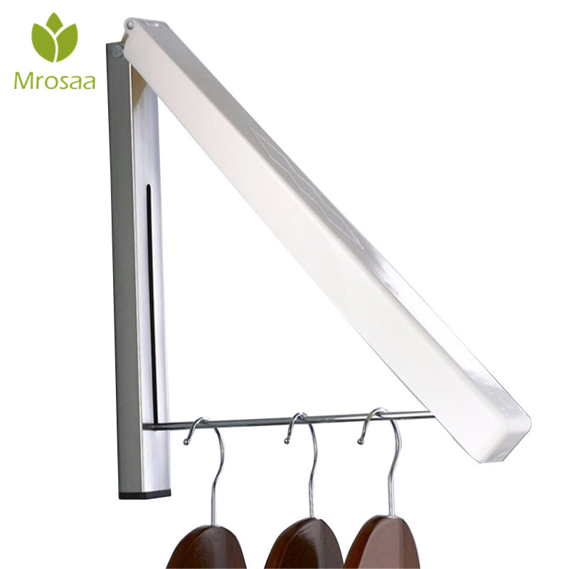 High Quality Creative Wall Mounted Retractable Foldable Clothes Rack Hook Magic Hanger Bathroom Bedroom Hotel Storage Holder
