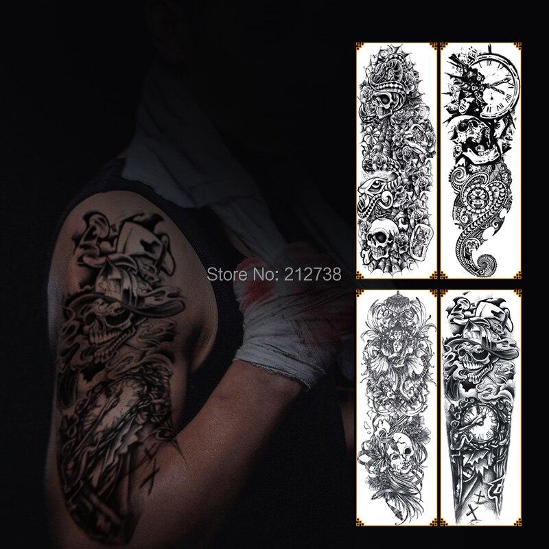Temporary Tattoo Sticker Large Size Body Art Sketch Flower: 48x17cm 1pc Waterproof Temporary Tattoo Sticker Full Arm