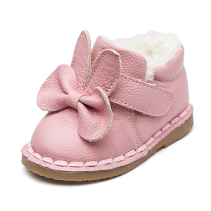 Image 4 - 本革のベビー綿の靴の冬冬女の子プラスベルベット幼児の靴子供のブーツソフト底