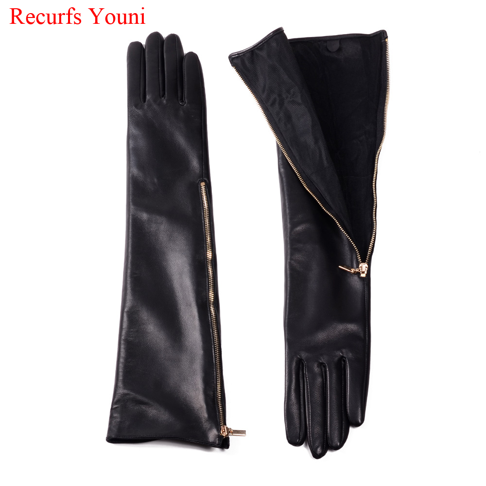 Novelty Female Spring Genuine Leather Side Golden Zipper 45CM Long Gloves For Women Mujer Evening Party