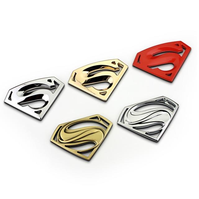 Superman Logo Pahlawan Logam Stiker Teks Kustom Pribadi Stereo Surat Mobil Motor DIY Emblem Sticker