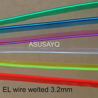 3.2mm el wire welted 20m sewable welt el wire waterproof glowing strobe wire 20m flexible neon cable with 12 inverter for car