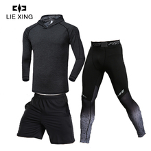 LIEXING Men Sports Suit Compression Underwear Outdoor Running Joggers Clothes T Shirt Pants Gym Fitness Mens Leggings Costume