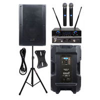 STARAUDIO 4500W 15 Powered Active Stage PA DJ KTV Karaoke DSP Speaker Stage Stand 2CH Wireless UHF Handheld Microphone SDSP 15