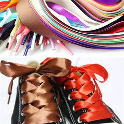1 PAR 2 CM Largura 120 CENTÍMETROS de Fita de Seda Liso Nylon Shoe Laces Cadarços Sapatilha Sapatos de Desporto Rendas Transporte da gota