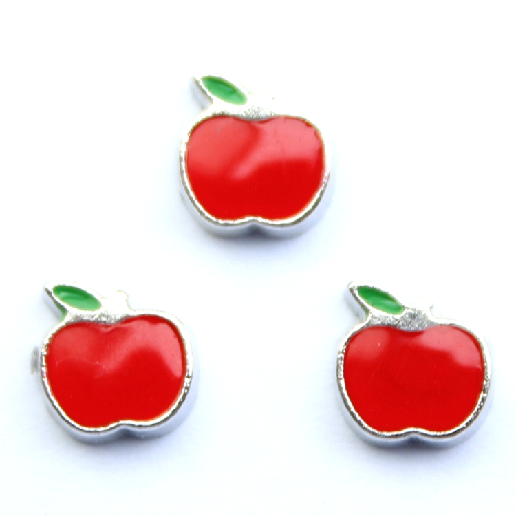 3MM-7MM Silver Apple Shaped Floating Charms , 20 pcs / lot , Free Shipping
