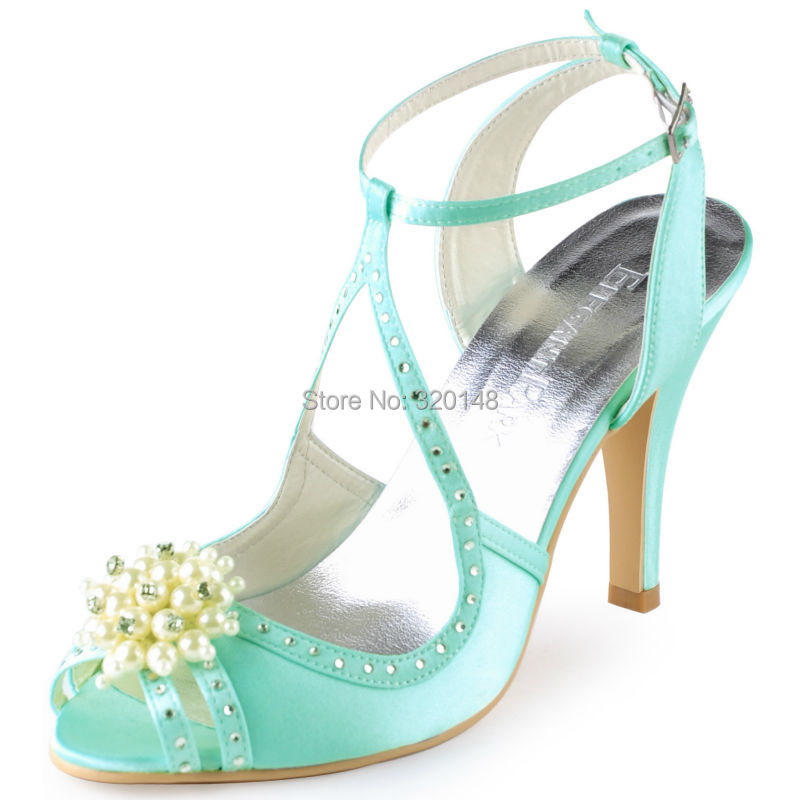 EP11058-GREEN82 EP11058-MINT69. 1. Summer Woman Sandals Sexy Silver Ankle  Strap High Heel Bling Rhinestone Satin Bride Bridesmaid Pumps Bridal  Wedding Shoes ... 71b407360436