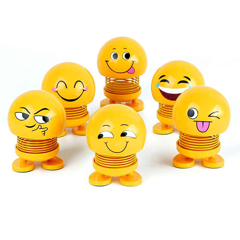 Lovely Shaking Head Toys Car Ornaments Bobblehead Nod Dolls Cute Cartoon Funny Emoji Wobble Head Robot Car decoration