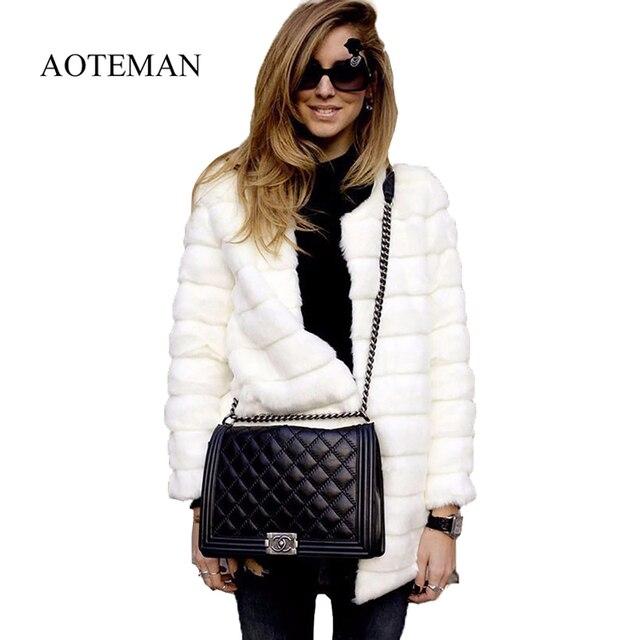 AOTEMAN зима женские шубы из искусственного меха повседневное куртка с длинными рукавами пальто Твердые модный легкий мех теплое Casaco Feminino Плюс...