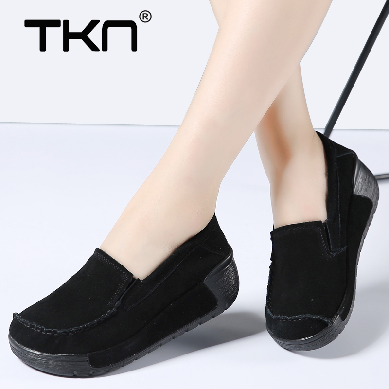 Women Winter Flats Platform Shoes   Leather     Suede   Slip on Ladies Casual Chaussure Femme Creepers Moccasins Sneakers Woman 558
