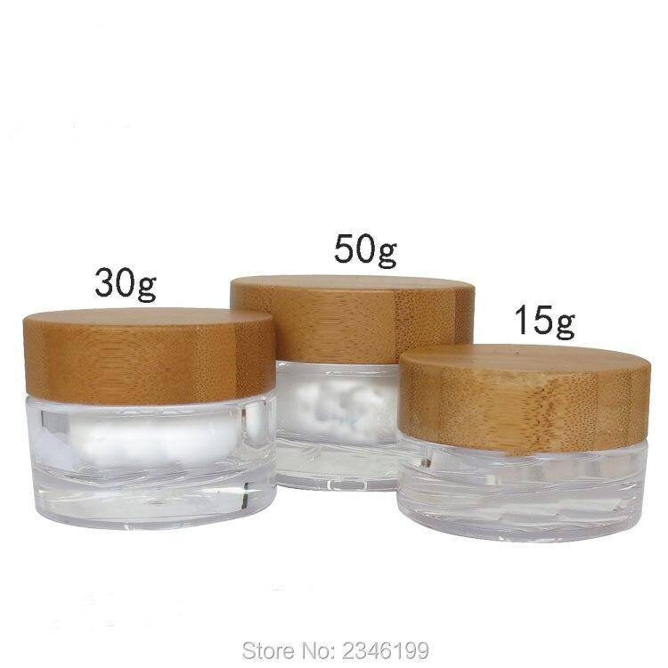 30g 50g bambusa Cap drewniana pokrywa słój akrylowy przezroczysty biały plastikowy pojemnik kosmetyk krem butelka opakowaniowa 10 sztuk/partia w Butelki wielokrotnego użytku od Uroda i zdrowie na AliExpress - 11.11_Double 11Singles' Day 1