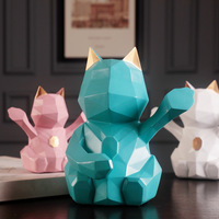 Modern Organic Resin Geometric Lucky Cat Fengshui Miniature Figurines Small Ornament Desk Decoration Home Decoration Accessories