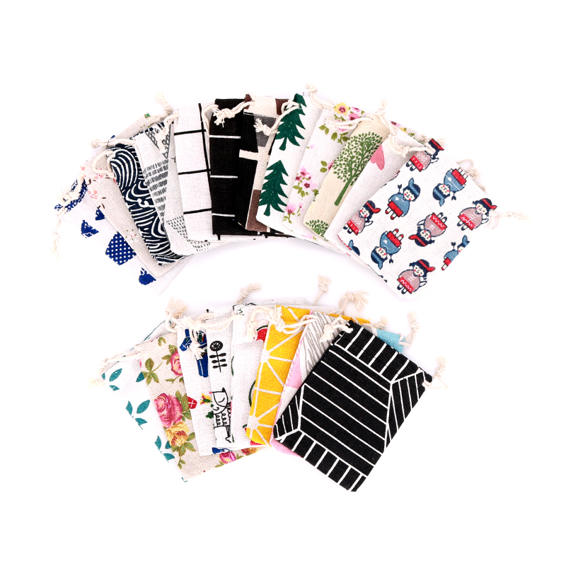 5pcs/lot Linen Cotton Bags 8x10 9x12cm Small Party Favor Charms Nuts Jewelry Packaging Bags Muslin Drawstring Gift Bag Pouches