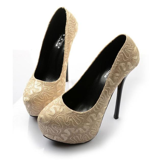 2017 de Gran Tamaño 34 ~ 45 de La Moda de Alta Calidad de Encaje De Albaricoque Sexy Tacones Altos Mujeres Bombas Mujer Zapatos de Plataforma Chaussure Femme