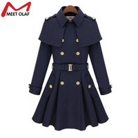 2017 Women Woolen Trench Coat Medium long Double breasted Wool Blends Jacket Cloak Buckle Sash Winderbreaker Cape Coats YL643