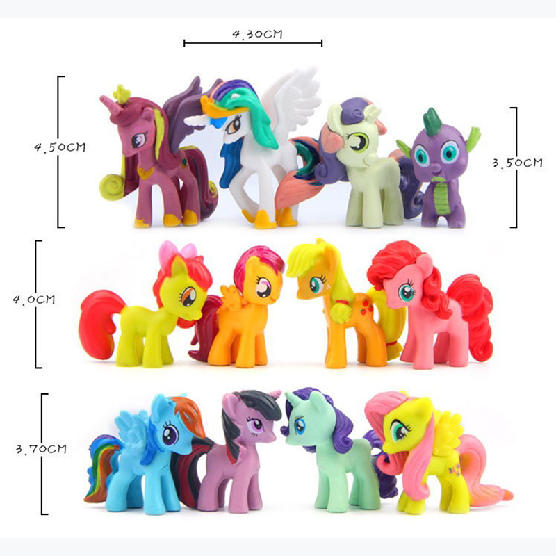 12 pcs plastic horses cute patroled pvc unicorn toys for birthday christmas doll gifthorse toy doll brithday gift wj431 in action toy figures from toys
