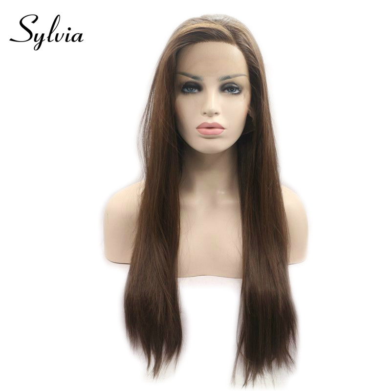 sylvia 6 Natural Brown Silky Straight Synthetic Lace Front Wigs Side Parting Heat Resistant Fiber Hair